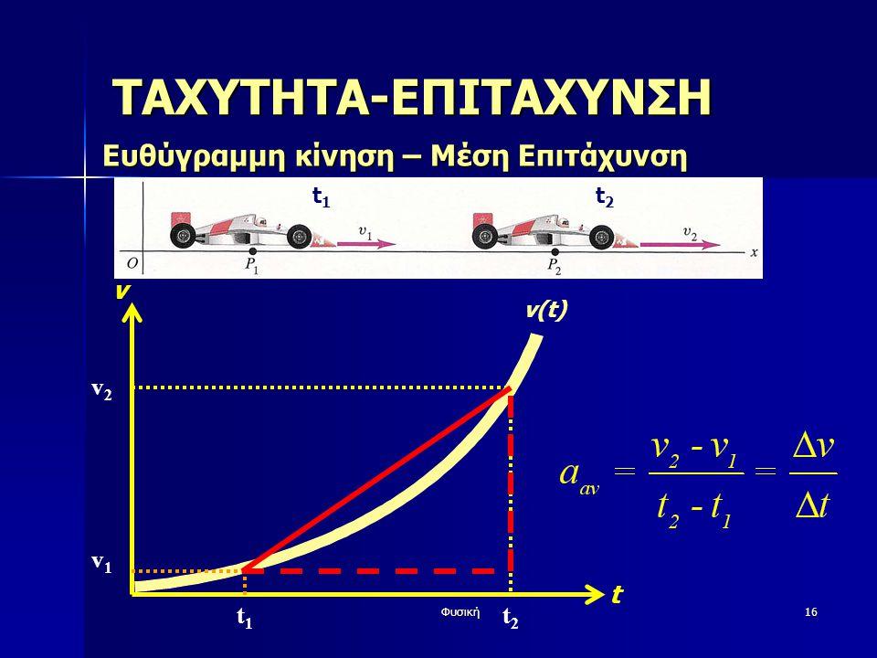 Φυσική16 v t v(t) ΤΑΧΥΤΗΤΑ-ΕΠΙΤΑΧΥΝΣΗ Ευθύγραμμη κίνηση – Μέση Επιτάχυνση t1t1 t2t2 v1v1 v2v2 t1t1 t2t2