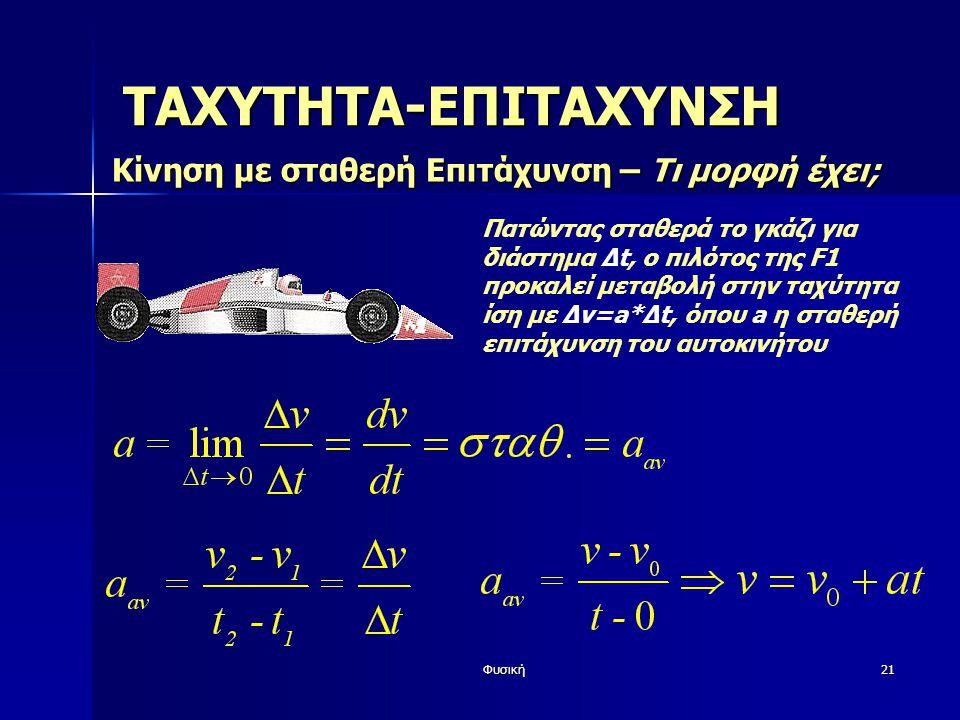 Φυσική21 ΤΑΧΥΤΗΤΑ-ΕΠΙΤΑΧΥΝΣΗ Κίνηση με σταθερή Επιτάχυνση – Τι μορφή έχει; Πατώντας σταθερά το γκάζι για διάστημα Δt, ο πιλότος της F1 προκαλεί μεταβολή στην ταχύτητα ίση με Δv=a*Δt, όπου a η σταθερή επιτάχυνση του αυτοκινήτου