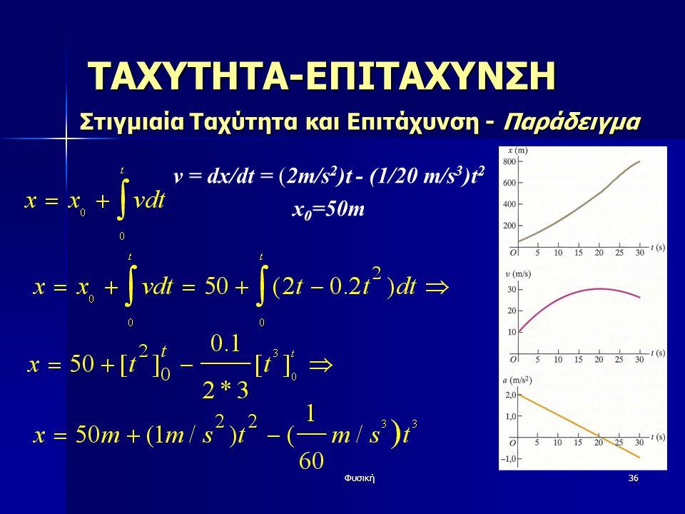 Φυσική36 ΤΑΧΥΤΗΤΑ-ΕΠΙΤΑΧΥΝΣΗ Στιγμιαία Ταχύτητα και Επιτάχυνση - Παράδειγμα v = dx/dt = (2m/s 2 )t - (1/20 m/s 3 )t 2 x 0 =50m