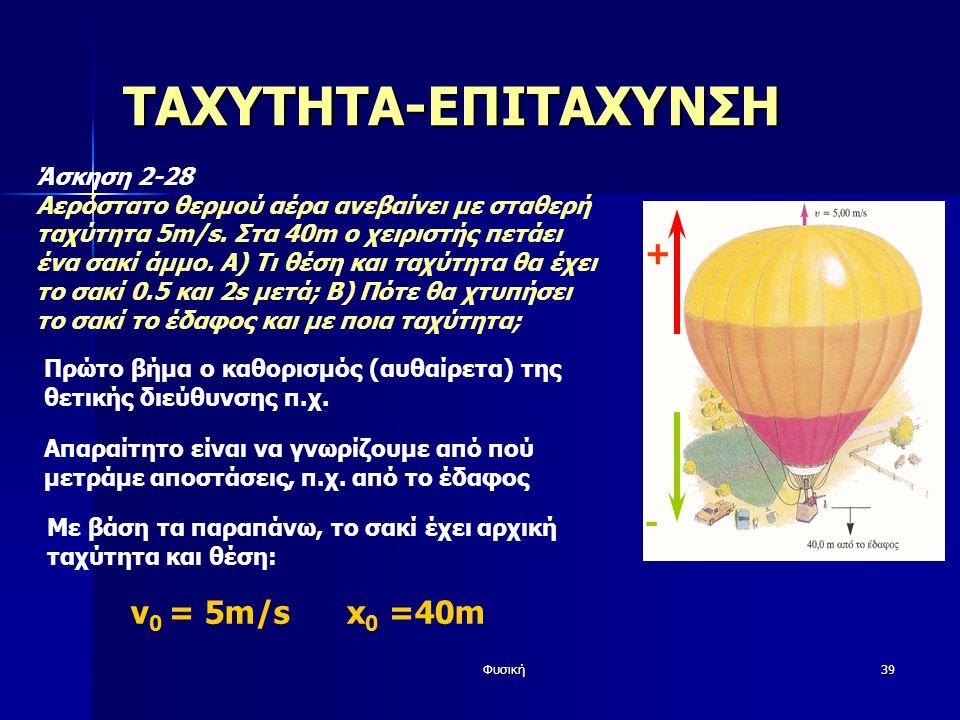 Φυσική39 ΤΑΧΥΤΗΤΑ-ΕΠΙΤΑΧΥΝΣΗ Άσκηση 2-28 Αερόστατο θερμού αέρα ανεβαίνει με σταθερή ταχύτητα 5m/s.