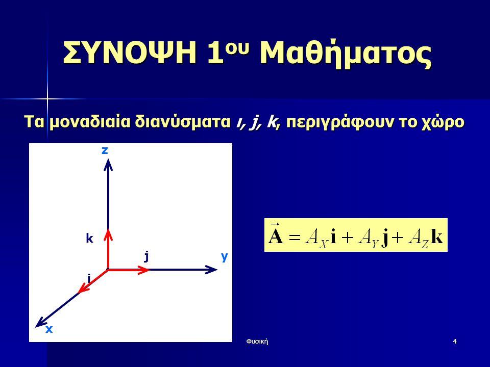 Φυσική4 ΣΥΝΟΨΗ 1 ου Μαθήματος Τα μοναδιαία διανύσματα ι, j, k, περιγράφουν το χώρο y z i j k x