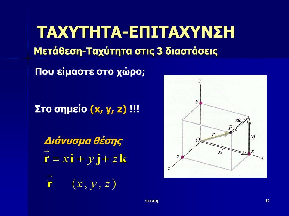 Φυσική42 ΤΑΧΥΤΗΤΑ-ΕΠΙΤΑΧΥΝΣΗ Μετάθεση-Ταχύτητα στις 3 διαστάσεις Που είμαστε στο χώρο; Στο σημείο (x, y, z) !!.
