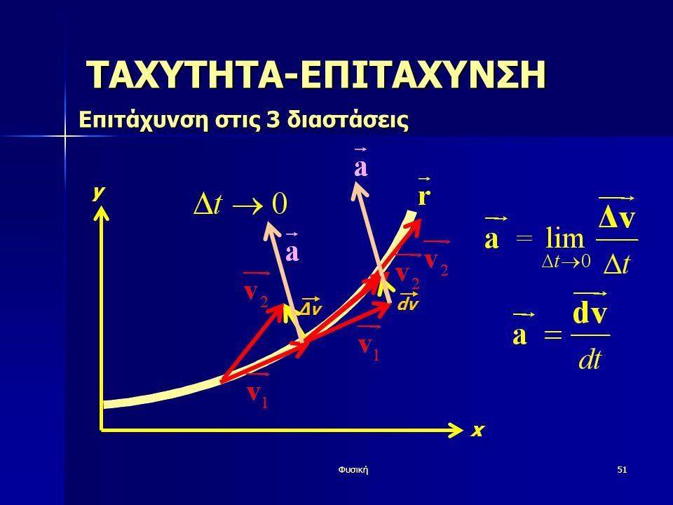 Φυσική51 ΤΑΧΥΤΗΤΑ-ΕΠΙΤΑΧΥΝΣΗ Επιτάχυνσηστις 3 διαστάσεις Επιτάχυνση στις 3 διαστάσεις y x ΔvΔv dv