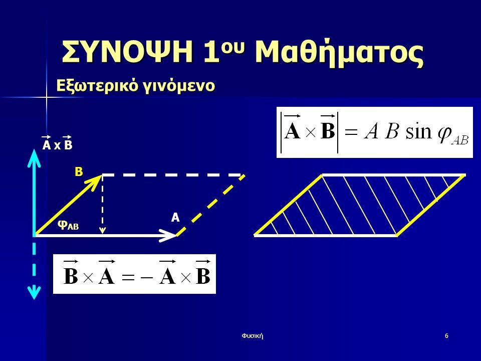 Φυσική7 ΣΥΝΟΨΗ 1 ου Μαθήματος Εξωτερικό γινόμενο Β φ AB Α A X Β