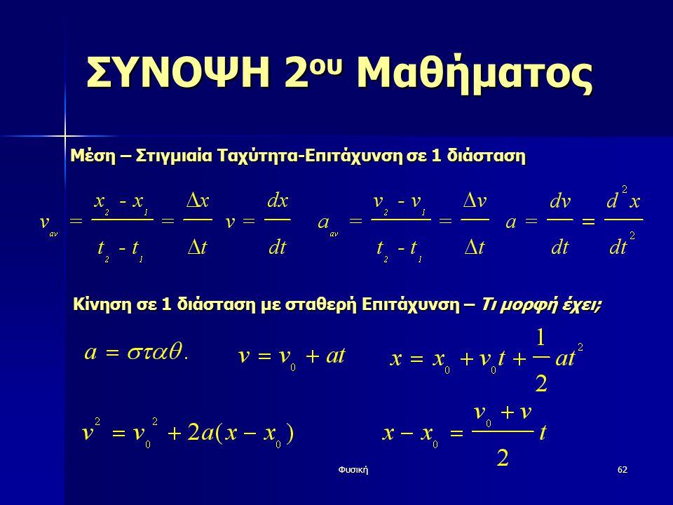 Φυσική62 ΣΥΝΟΨΗ 2 ου Μαθήματος Μέση – Στιγμιαία Ταχύτητα-Επιτάχυνση σε 1 διάσταση Κίνηση σε 1 διάστασημε σταθερή Επιτάχυνση – Τι μορφή έχει; Κίνηση σε 1 διάσταση με σταθερή Επιτάχυνση – Τι μορφή έχει;