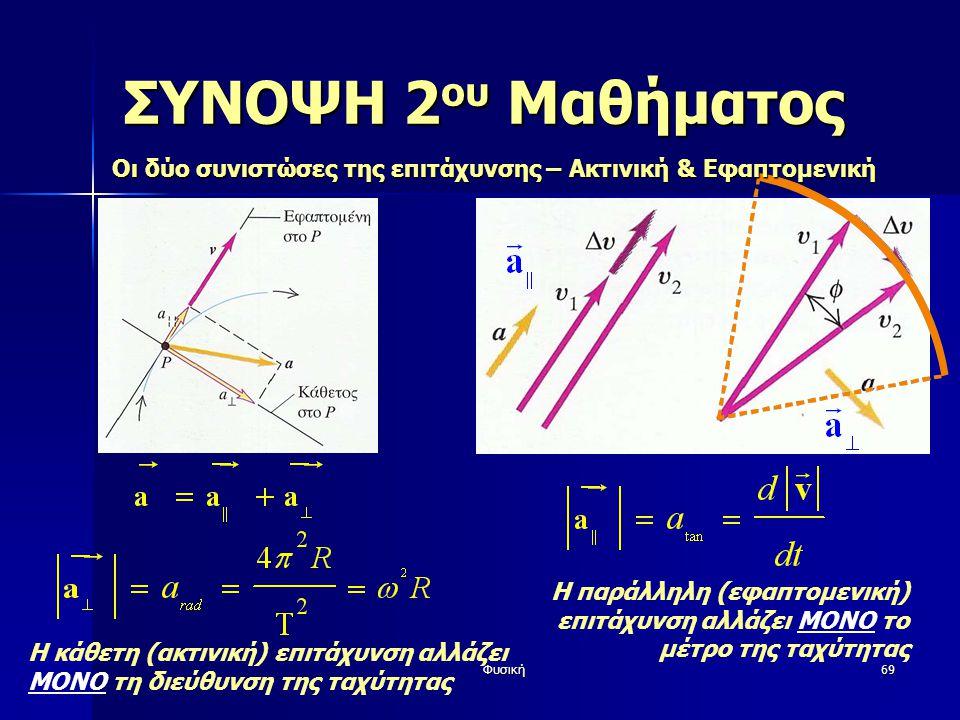 Φυσική69 ΣΥΝΟΨΗ 2 ου Μαθήματος Η κάθετη (ακτινική) επιτάχυνση αλλάζει ΜΟΝΟ τη διεύθυνση της ταχύτητας Η παράλληλη (εφαπτομενική) επιτάχυνση αλλάζει ΜΟΝΟ το μέτρο της ταχύτητας Οι δύο συνιστώσες της επιτάχυνσης – Ακτινική & Εφαπτομενική