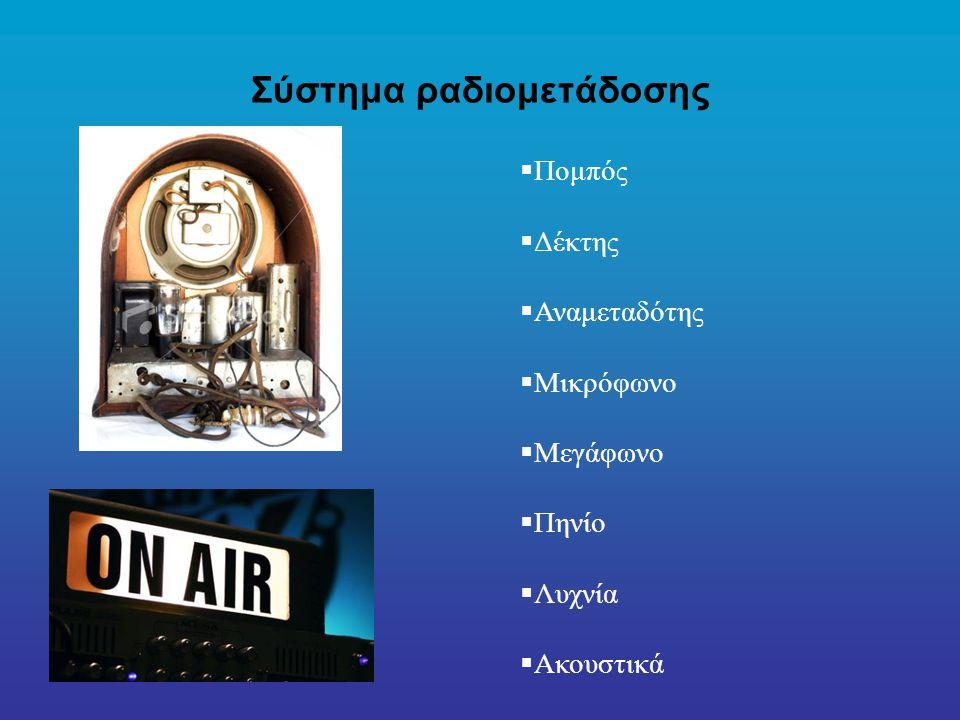 Σύστημα ραδιομετάδοσης  Πομπός  Δέκτης  Αναμεταδότης  Μικρόφωνο  Μεγάφωνο  Πηνίο  Λυχνία  Ακουστικά