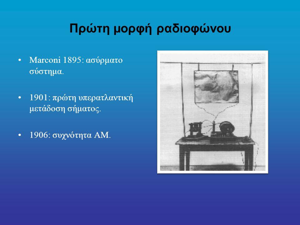 Πρώτη μορφή ραδιοφώνου Marconi 1895: ασύρματο σύστημα.