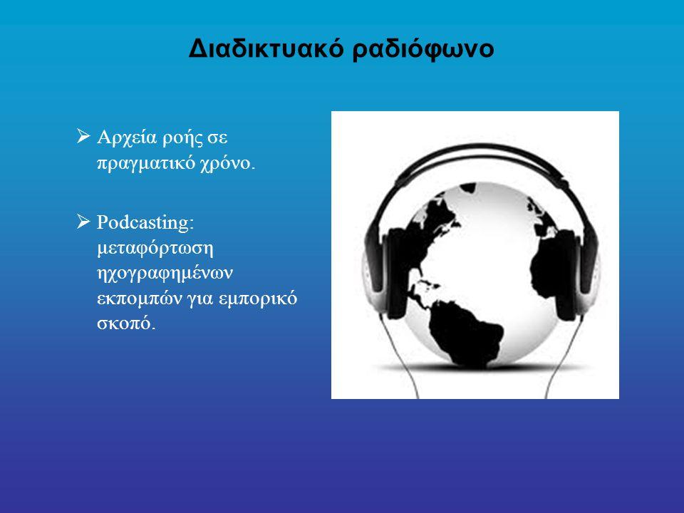 Διαδικτυακό ραδιόφωνο  Αρχεία ροής σε πραγματικό χρόνο.