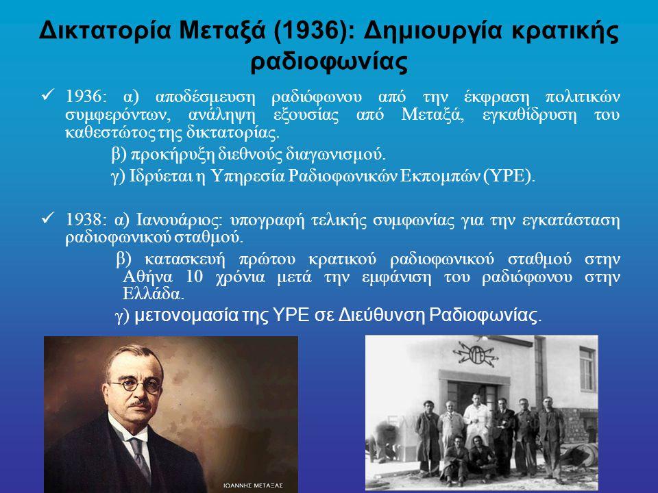 Δικτατορία Μεταξά (1936): Δημιουργία κρατικής ραδιοφωνίας 1936: α) αποδέσμευση ραδιόφωνου από την έκφραση πολιτικών συμφερόντων, ανάληψη εξουσίας από Μεταξά, εγκαθίδρυση του καθεστώτος της δικτατορίας.