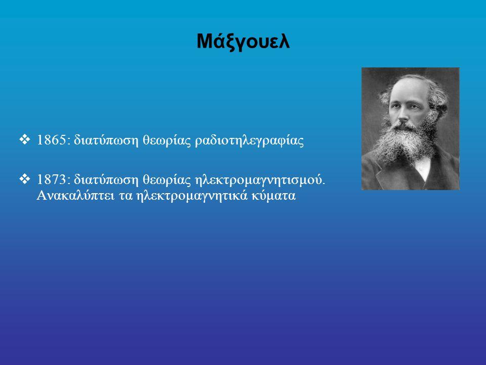 Μάξγουελ  1865: διατύπωση θεωρίας ραδιοτηλεγραφίας  1873: διατύπωση θεωρίας ηλεκτρομαγνητισμού.
