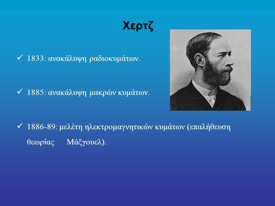 Χερτζ 1833: ανακάλυψη ραδιοκυμάτων.1885: ανακάλυψη μακρών κυμάτων.