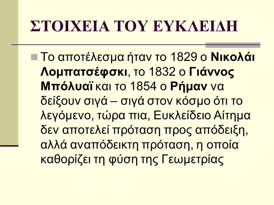 ΣΤΟΙΧΕΙΑ ΤΟΥ ΕΥΚΛΕΙΔΗ Το αποτέλεσμα ήταν το 1829 ο Νικολάι Λομπατσέφσκι, το 1832 ο Γιάννος Μπόλυαϊ και το 1854 ο Ρήμαν να δείξουν σιγά – σιγά στον κόσ