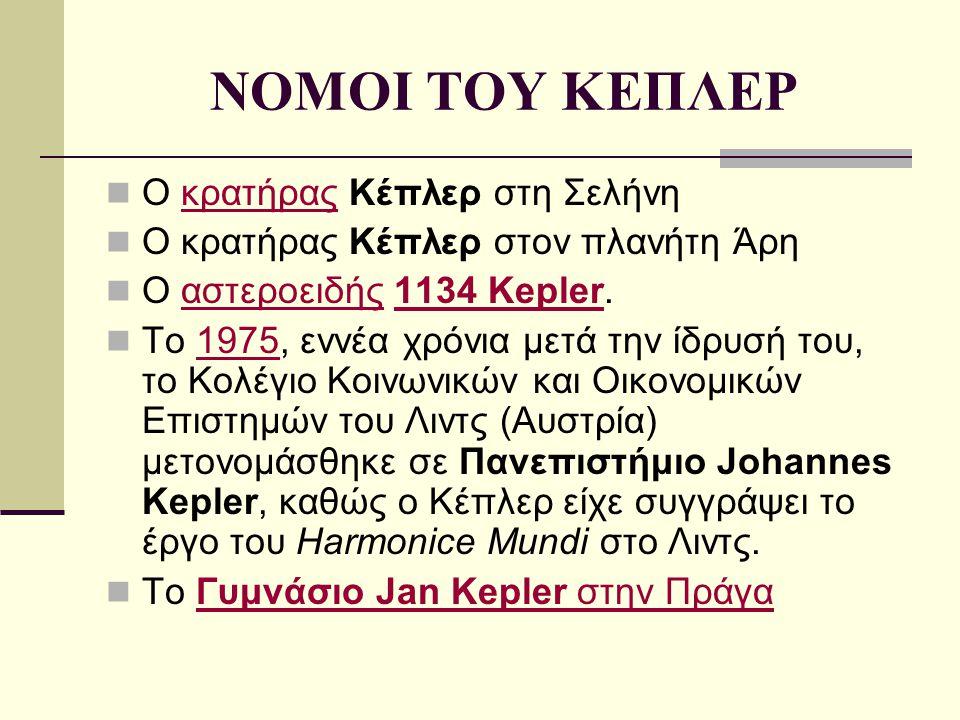ΝΟΜΟΙ ΤΟΥ ΚΕΠΛΕΡ Ο κρατήρας Κέπλερ στη Σελήνηκρατήρας Ο κρατήρας Κέπλερ στον πλανήτη Άρη Ο αστεροειδής 1134 Kepler.αστεροειδής1134 Kepler Το 1975, ενν