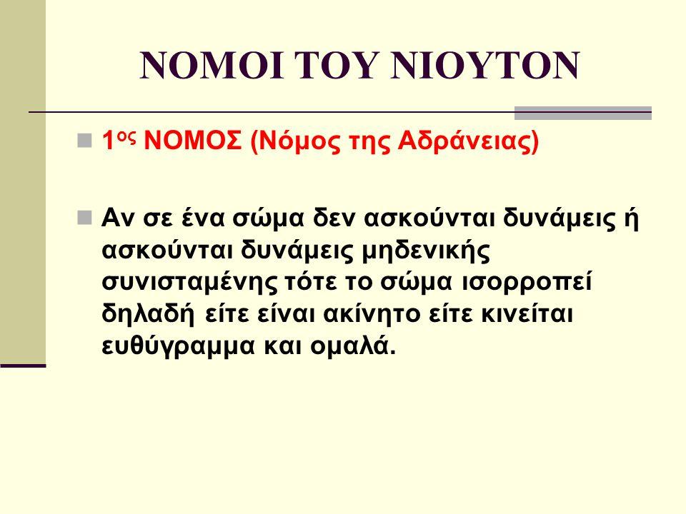 NOMOI TOY NIOYTON 1 ος ΝΟΜΟΣ (Νόμος της Αδράνειας) Aν σε ένα σώμα δεν ασκούνται δυνάμεις ή ασκούνται δυνάμεις μηδενικής συνισταμένης τότε το σώμα ισορ