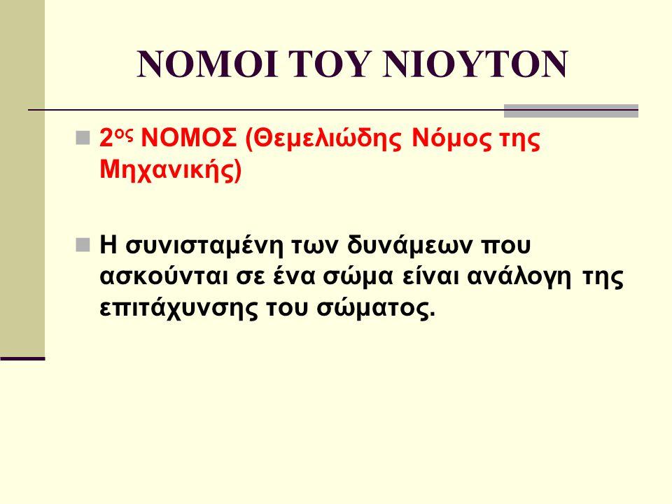 NOMOI TOY NIOYTON 2 ος ΝΟΜΟΣ (Θεμελιώδης Νόμος της Μηχανικής) H συνισταμένη των δυνάμεων που ασκούνται σε ένα σώμα είναι ανάλογη της επιτάχυνσης του σ