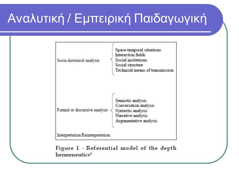 Λογικός Θετικισμός Δύο πηγές γνώσης: α) ο λογισμός (μαθηματικά, τυπική λογική), β) εμπειρική γνώση (Φυσική, Βιολογία, Ψυχολογία) Μία δήλωση έχει νόημα αν, και μόνο αν, μπορεί να αποδειχθεί αληθής ή ψευδής, έστω και σε επίπεδο αρχής, με εμπειρικό τρόπο (αρχή της επαληθευσιμότητας) Ζητούμενο η εξήγηση και η πρόβλεψη Οι μέθοδοι της θετικιστικής κατεύθυνσης είναι γνωστές ως ποσοτικές μέθοδοι Συμπεριφοριστικές Θεωρίες Μάθησης κυριαρχία της πειραματικής μεθόδου έρευνας διατύπωση κανόνων που εκλαμβάνονται ως γενικά αποδεκτοί με τη μέθοδο της επαγωγής περιγραφή των διαδικασιών της μάθησης με βάση το σχήμα Ερέθισμα (αίτιο) - Αντίδραση (αιτιατό) Αμερικανικός Πραγματισμός ενότητα γνώσης και δράσης, αξιών και εμπειρίας.