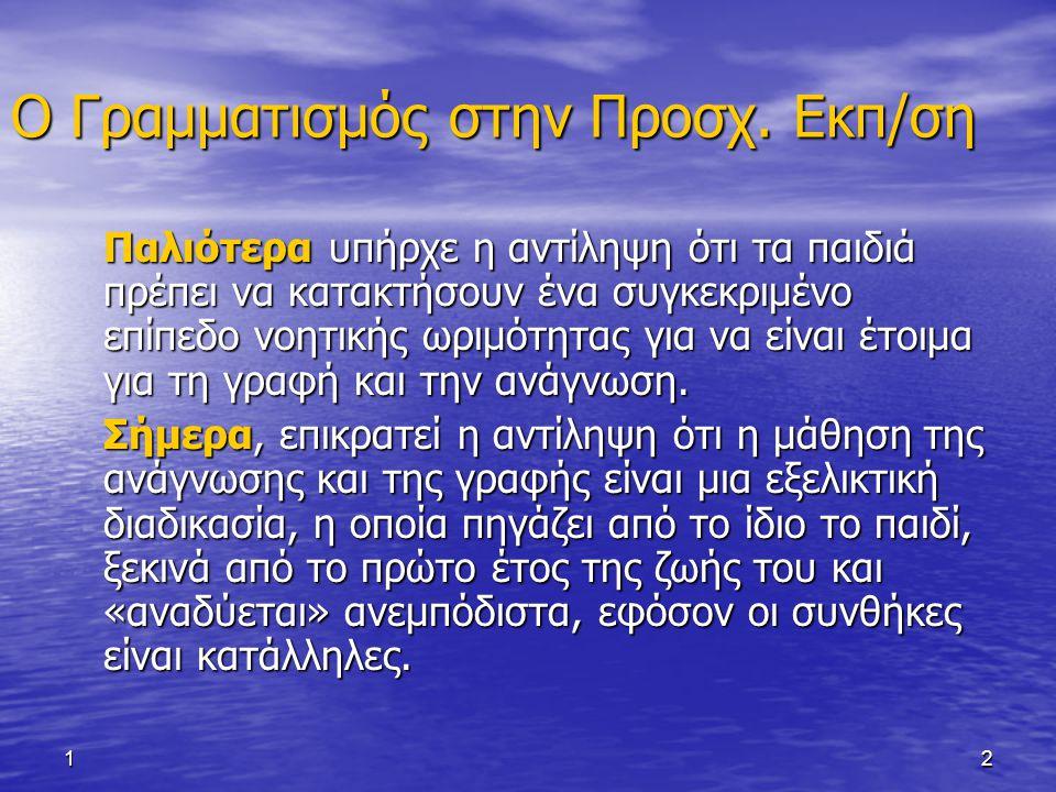 13 Ο Γραμματισμός στην Προσχ.Εκπ/ση Αναδυόμενη Ανάγνωση και Γραφή (emergent literacy).