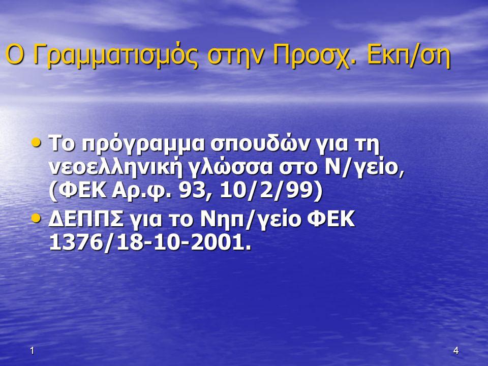 14 Ο Γραμματισμός στην Προσχ. Εκπ/ση Το πρόγραμμα σπουδών για τη νεοελληνική γλώσσα στο Ν/γείο, (ΦΕΚ Αρ.φ. 93, 10/2/99) Το πρόγραμμα σπουδών για τη νε