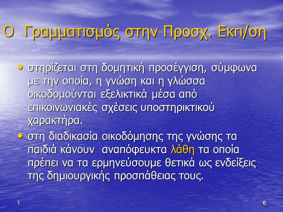 16 Ο Γραμματισμός στην Προσχ. Εκπ/ση στηρίζεται στη δομητική προσέγγιση, σύμφωνα με την οποία, η γνώση και η γλώσσα οικοδομούνται εξελικτικά μέσα από