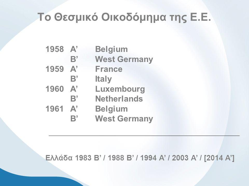 Το Θεσμικό Οικοδόμημα της Ε.Ε. 1958Α'Belgium B' West Germany 1959 A' France B'Italy 1960 A' Luxembourg B'Netherlands 1961 A'Belgium B'West Germany Ελλ
