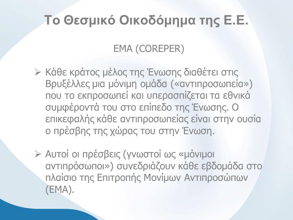 Το Θεσμικό Οικοδόμημα της Ε.Ε. ΕΜΑ (COREPER)  Κάθε κράτος μέλος της Ένωσης διαθέτει στις Βρυξέλλες μια μόνιμη ομάδα («αντιπροσωπεία») που το εκπροσωπ