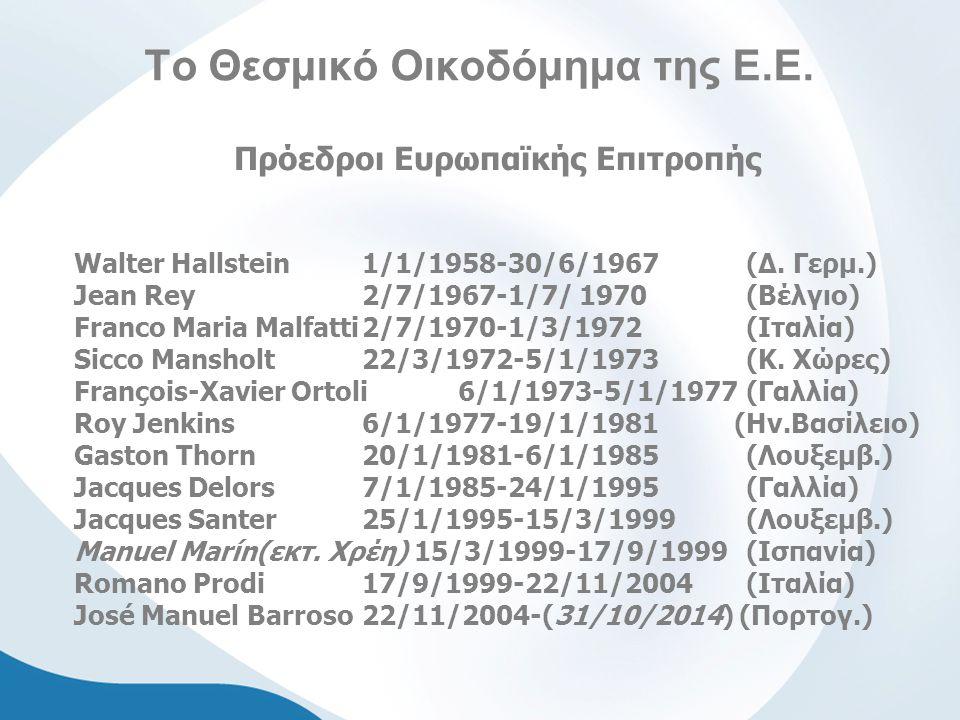 Το Θεσμικό Οικοδόμημα της Ε.Ε. Πρόεδροι Ευρωπαϊκής Επιτροπής Walter Hallstein1/1/1958-30/6/1967 (Δ. Γερμ.) Jean Rey 2/7/1967-1/7/ 1970 (Βέλγιο) Franco