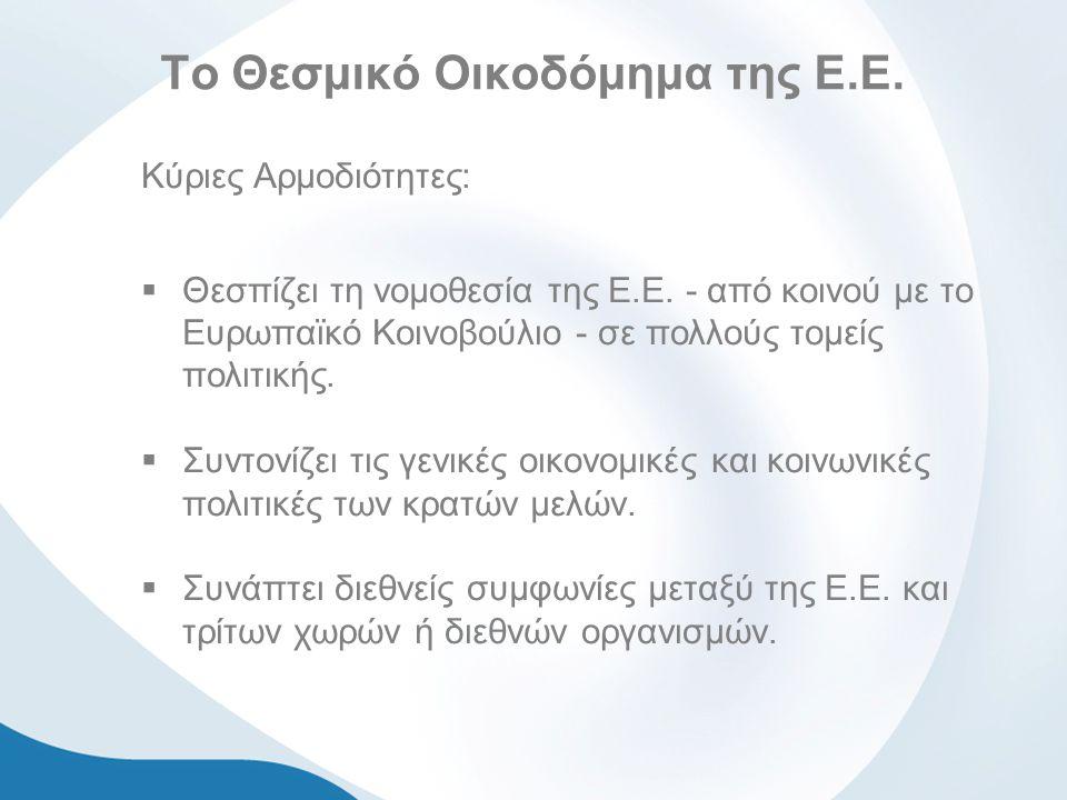 Το Θεσμικό Οικοδόμημα της Ε.Ε. Κύριες Αρμοδιότητες:  Θεσπίζει τη νομοθεσία της Ε.Ε. - από κοινού με το Ευρωπαϊκό Κοινοβούλιο - σε πολλούς τομείς πολι