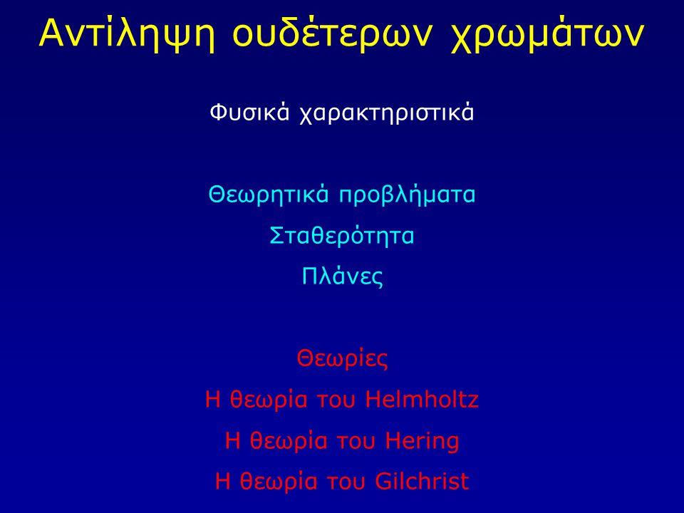 Αντίληψη ουδέτερων χρωμάτων Φυσικά χαρακτηριστικά Θεωρητικά προβλήματα Σταθερότητα Πλάνες Θεωρίες Η θεωρία του Helmholtz Η θεωρία του Hering Η θεωρία