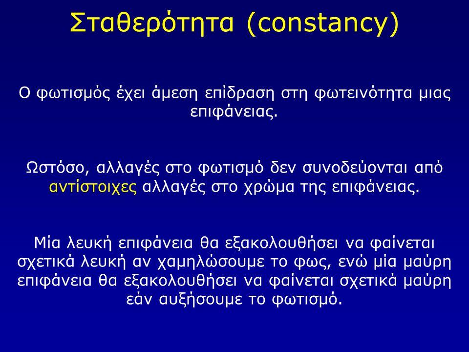 Σταθερότητα (constancy) Ο φωτισμός έχει άμεση επίδραση στη φωτεινότητα μιας επιφάνειας. Ωστόσο, αλλαγές στο φωτισμό δεν συνοδεύονται από αντίστοιχες α