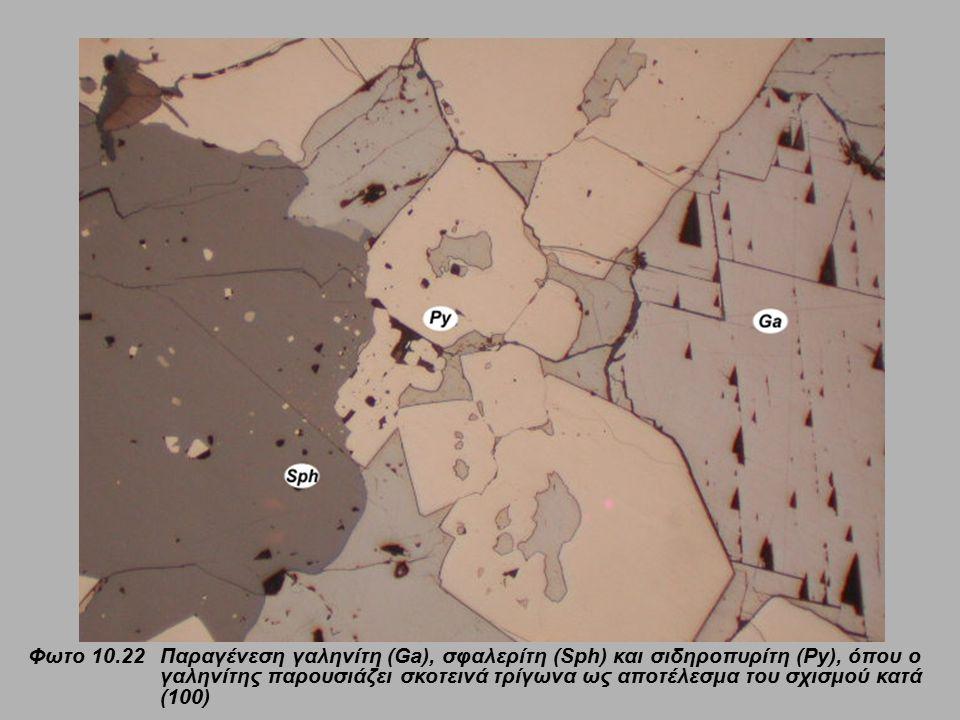 Φωτο 10.22 Παραγένεση γαληνίτη (Ga), σφαλερίτη (Sph) και σιδηροπυρίτη (Py), όπου ο γαληνίτης παρουσιάζει σκοτεινά τρίγωνα ως αποτέλεσμα του σχισμού κα