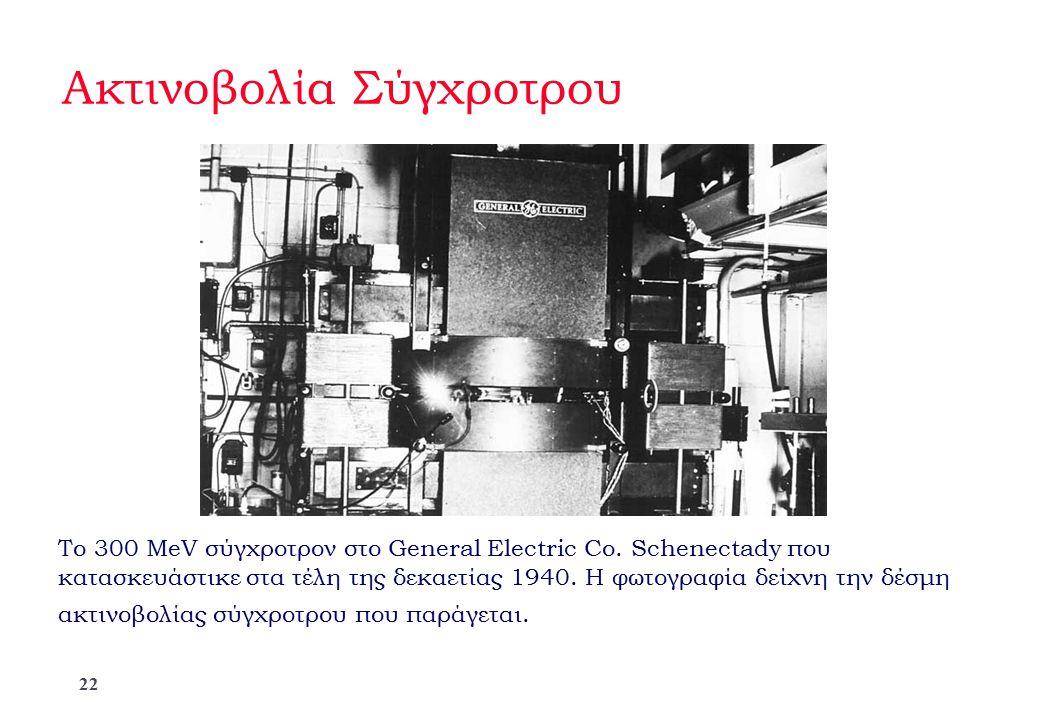 Ακτινοβολία Σύγχροτρου To 300 MeV σύγχροτρον στο General Electric Co. Schenectady που κατασκευάστικε στα τέλη της δεκαετίας 1940. Η φωτογραφία δείχνη