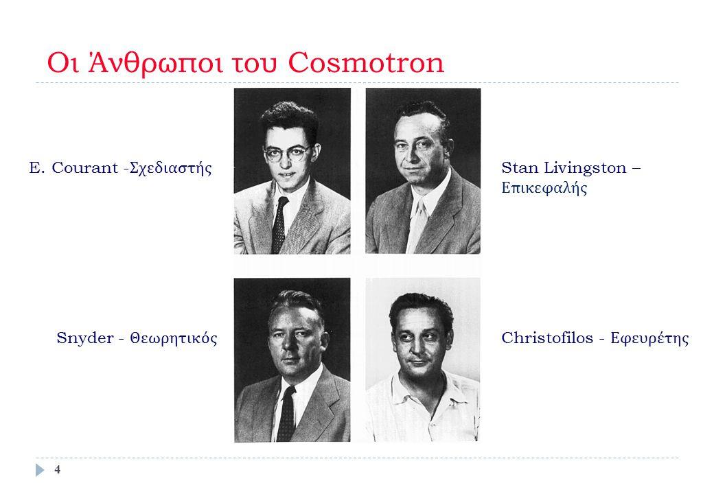Οι Άνθρωποι του Cosmotron E. Courant - Σχεδιαστής Stan Livingston – Επικεφαλής Snyder - Θεωρητικός Christofilos - Εφευρέτης 4