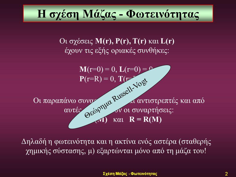 Σχέση Μάζας - Φωτεινότητας 2 Οι σχέσεις M(r), P(r), T(r) και L(r) έχουν τις εξής οριακές συνθήκες: M(r=0) = 0, L(r=0) = 0, P(r=R) = 0, T(r=R) ≈ 0, Η σχέση Μάζας - Φωτεινότητας Οι παραπάνω συναρτήσεις είναι αντιστρεπτές και από αυτές προκύπτουν οι συναρτήσεις: L = L(M) και R = R(M) Δηλαδή η φωτεινότητα και η ακτίνα ενός αστέρα (σταθερής χημικής σύστασης, μ) εξαρτώνται μόνο από τη μάζα του.