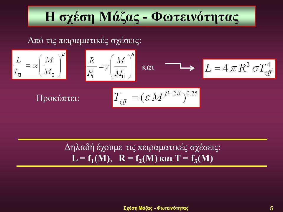 Σχέση Μάζας - Φωτεινότητας 6 Η σχέση Μάζας - Φωτεινότητας Οι παρατηρησιακές σχέσεις είναι: