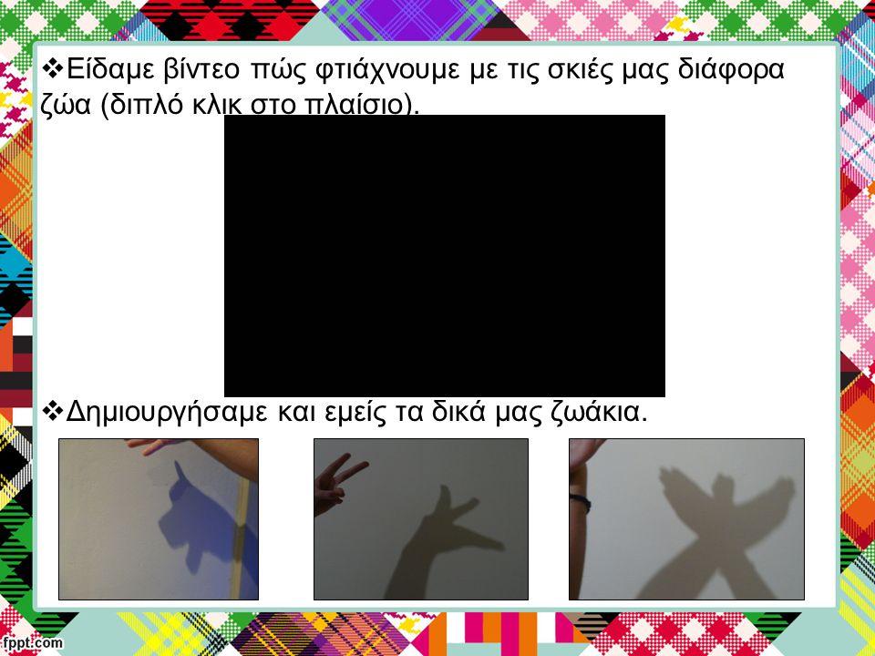  Είδαμε βίντεο πώς φτιάχνουμε με τις σκιές μας διάφορα ζώα (διπλό κλικ στο πλαίσιο).  Δημιουργήσαμε και εμείς τα δικά μας ζωάκια.