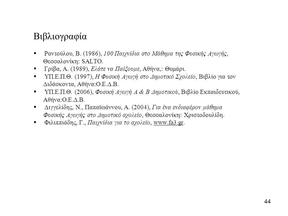 Βιβλιογραφία  Ραντούλου, Β. (1986), 100 Παιχνίδια στο Μάθημα της Φυσικής Αγωγής, Θεσσαλονίκη: SALTO.  Γρίβα, Α. (1989), Ελάτε να Παίξουμε, Αθήνα,: Θ