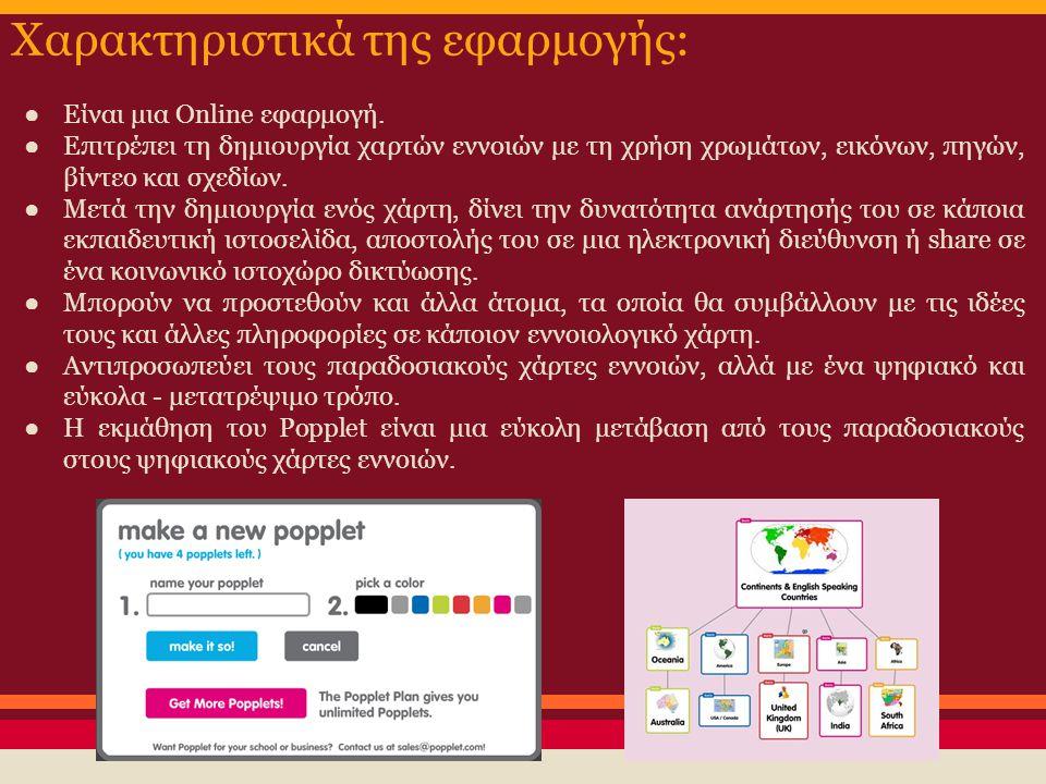 Χαρακτηριστικά της εφαρμογής: ● Είναι μια Online εφαρμογή. ● Επιτρέπει τη δημιουργία χαρτών εννοιών με τη χρήση χρωμάτων, εικόνων, πηγών, βίντεο και σ