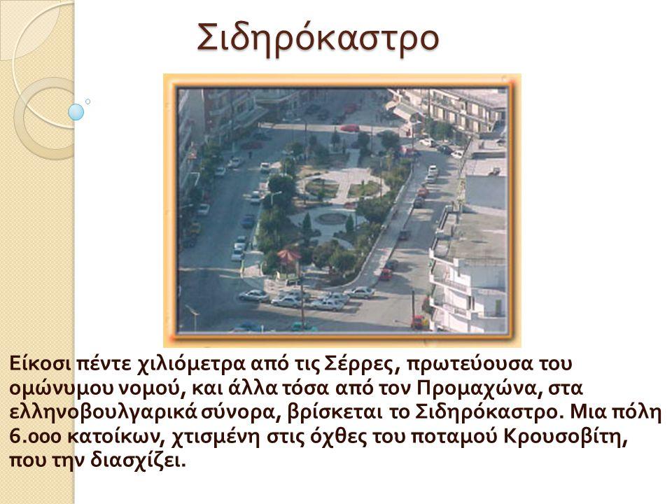Σιδηρόκαστρο Είκοσι πέντε χιλιόμετρα από τις Σέρρες, πρωτεύουσα του ομώνυμου νομού, και άλλα τόσα από τον Προμαχώνα, στα ελληνοβουλγαρικά σύνορα, βρίσ