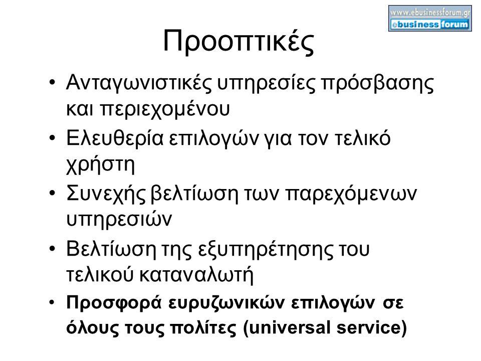 Προοπτικές Ανταγωνιστικές υπηρεσίες πρόσβασης και περιεχομένου Ελευθερία επιλογών για τον τελικό χρήστη Συνεχής βελτίωση των παρεχόμενων υπηρεσιών Βελτίωση της εξυπηρέτησης του τελικού καταναλωτή Προσφορά ευρυζωνικών επιλογών σε όλους τους πολίτες (universal service) 
