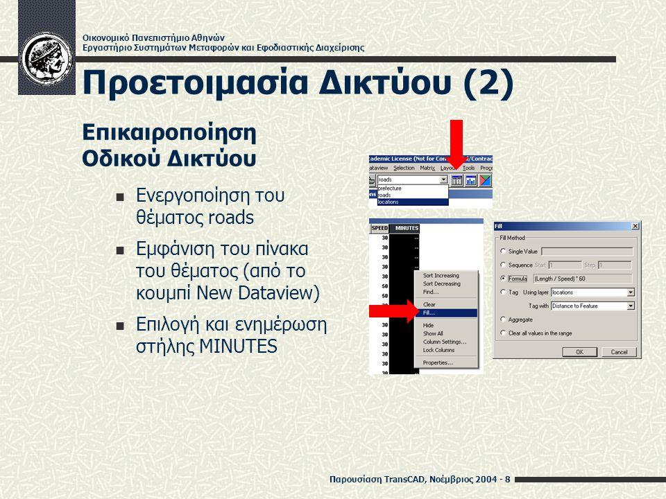 Παρουσίαση TransCAD, Νοέμβριος 2004 - 9 Οικονομικό Πανεπιστήμιο Αθηνών Εργαστήριο Συστημάτων Μεταφορών και Εφοδιαστικής Διαχείρισης Προετοιμασία Δικτύου (3) Δημιουργία Δικτύου Ενεργοποίηση του θέματος roads Δημιουργία και αποθήκευση δικτύου (Network/Paths -> Create…, αν η επιλογή δεν είναι ορατή, Procedures -> Show All)