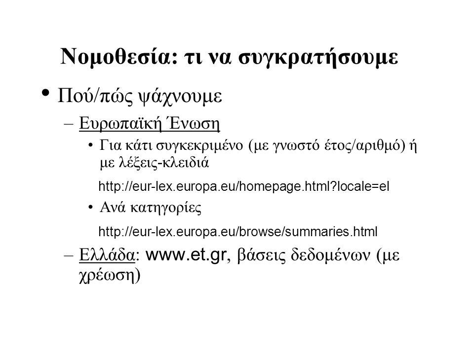 Νομοθεσία: τι να συγκρατήσουμε Πού/πώς ψάχνουμε –Ευρωπαϊκή Ένωση Για κάτι συγκεκριμένο (με γνωστό έτος/αριθμό) ή με λέξεις-κλειδιά http://eur-lex.euro