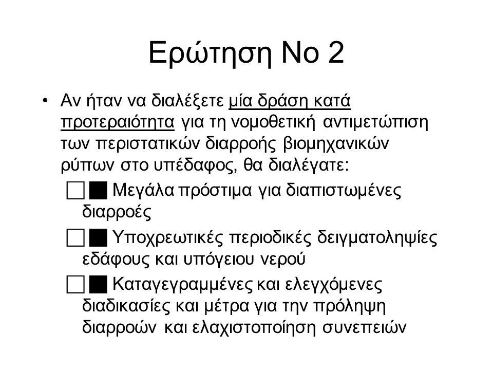 Ερώτηση Νο 2 Αν ήταν να διαλέξετε μία δράση κατά προτεραιότητα για τη νομοθετική αντιμετώπιση των περιστατικών διαρροής βιομηχανικών ρύπων στο υπέδαφο