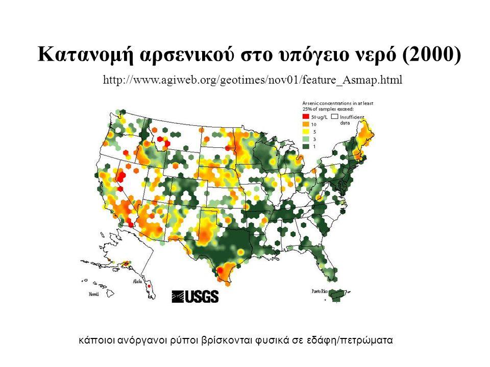 Κατανομή αρσενικού στο υπόγειο νερό (2000) http://www.agiweb.org/geotimes/nov01/feature_Asmap.html κάποιοι ανόργανοι ρύποι βρίσκονται φυσικά σε εδάφη/
