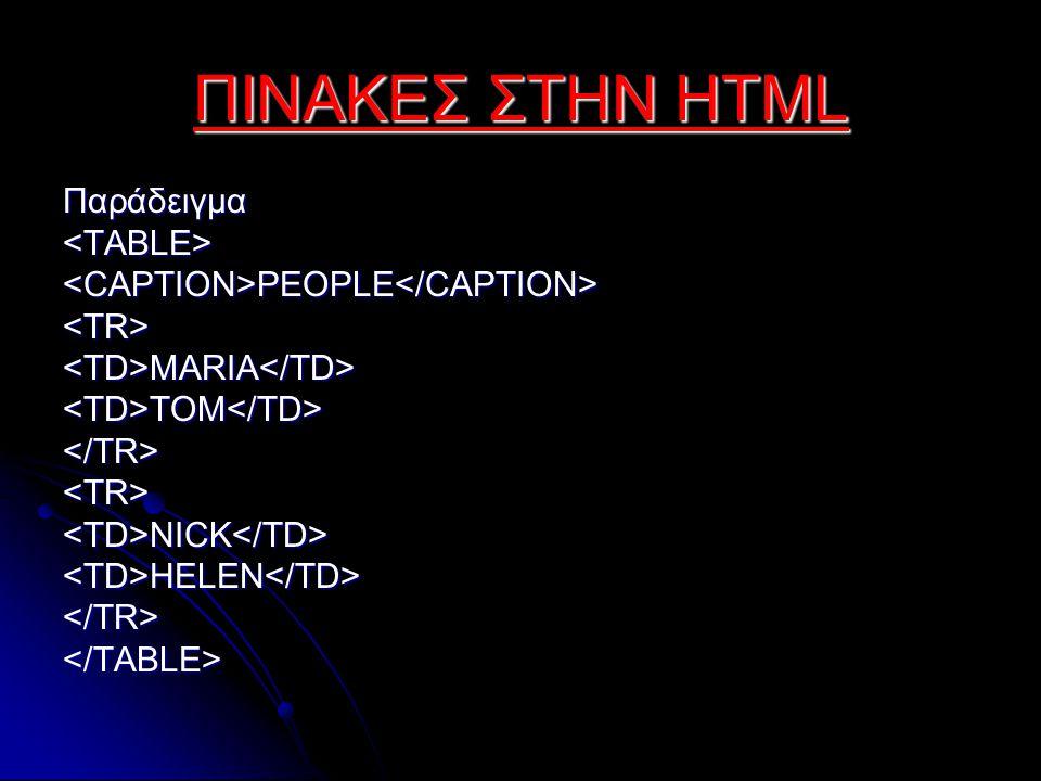 ΠΙΝΑΚΕΣ ΣΤΗΝ HTML Παράδειγμα<TABLE><CAPTION>PEOPLE</CAPTION><TR><TD>MARIA</TD><TD>TOM</TD></TR><TR><TD>NICK</TD><TD>HELEN</TD></TR></TABLE>