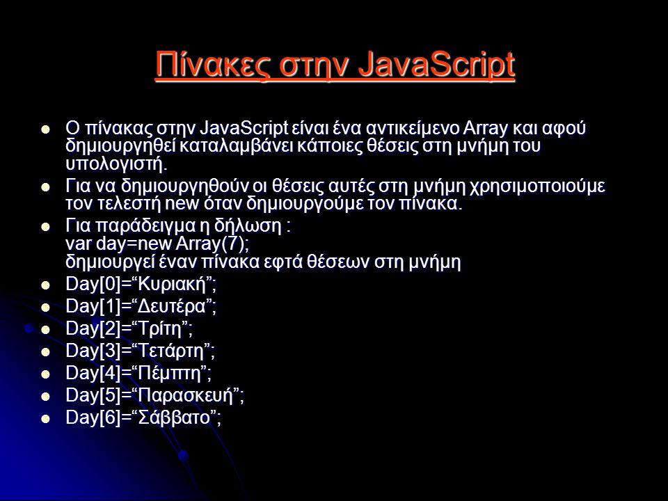 Πίνακες στην JavaScript Ο πίνακας στην JavaScript είναι ένα αντικείμενο Array και αφού δημιουργηθεί καταλαμβάνει κάποιες θέσεις στη μνήμη του υπολογιστή.