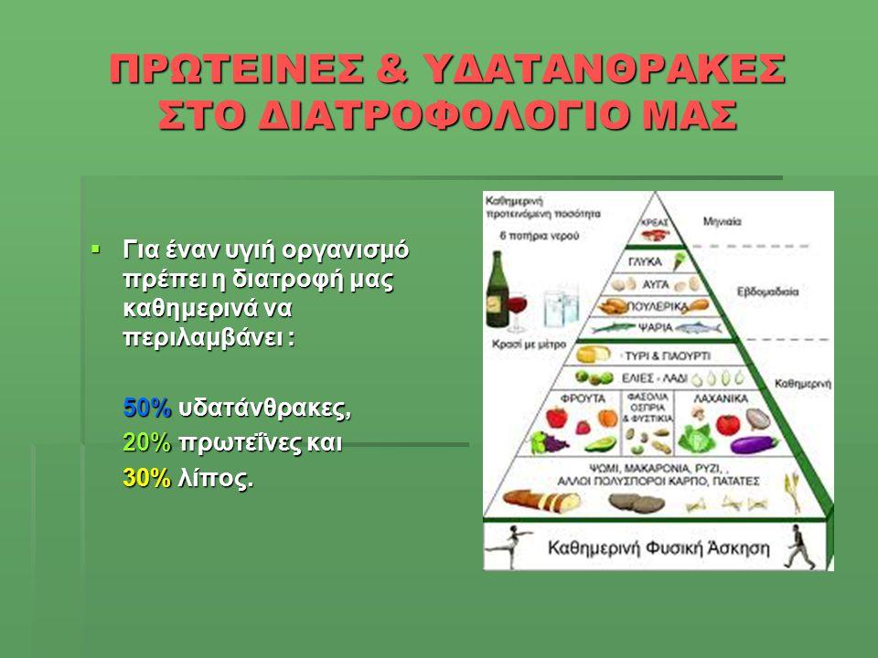 ΠΡΩΤΕΙΝΕΣ & ΥΔΑΤΑΝΘΡΑΚΕΣ ΣΤΟ ΔΙΑΤΡΟΦΟΛΟΓΙΟ ΜΑΣ  Για έναν υγιή οργανισμό πρέπει η διατροφή μας καθημερινά να περιλαμβάνει : 50% υδατάνθρακες, 20% πρωτ