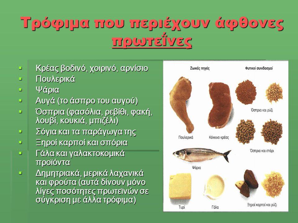 Τρόφιμα που περιέχουν άφθονες πρωτεΐνες  Κρέας βοδινό, χοιρινό, αρνίσιο  Πουλερικά  Ψάρια  Αυγά (το άσπρο του αυγού)  Όσπρια (φασόλια, ρεβίθι, φα
