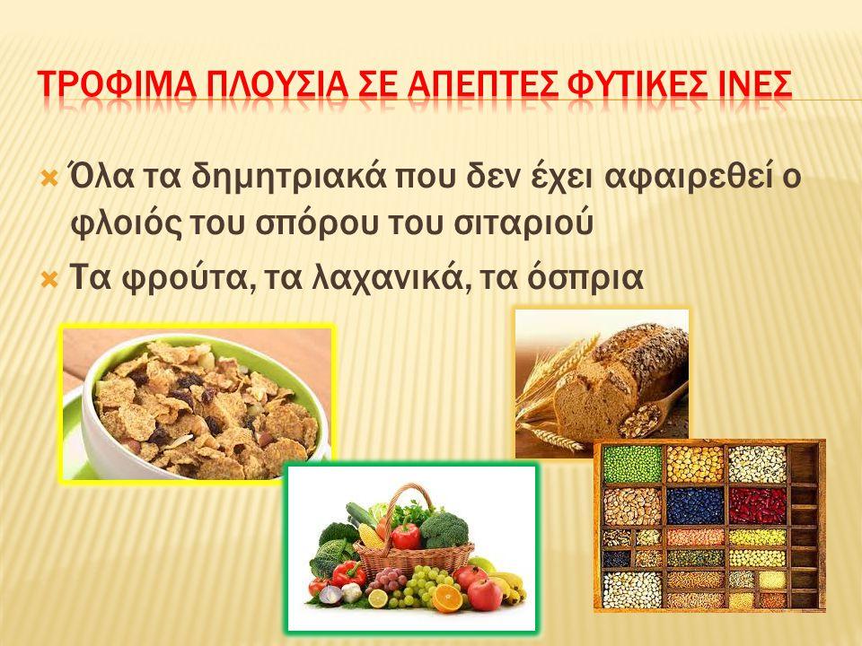  Όλα τα δημητριακά που δεν έχει αφαιρεθεί ο φλοιός του σπόρου του σιταριού  Τα φρούτα, τα λαχανικά, τα όσπρια