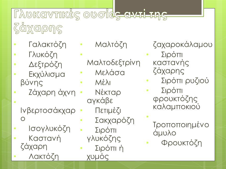 Γαλακτόζη Γλυκόζη Δεξτρόζη Εκχύλισμα βύνης Ζάχαρη άχνη Ινβερτοσάκχαρ ο Ισογλυκόζη Καστανή ζάχαρη Λακτόζη Μαλτόζη Μαλτοδεξτρίνη Μελάσα Μέλι Νέκταρ αγκάβε Πετιμέζι Σακχαρόζη Σιρόπι γλυκόζης Σιρόπι ή χυμός ζαχαροκάλαμου Σιρόπι καστανής ζάχαρης Σιρόπι ρυζιού Σιρόπι φρουκτόζης καλαμποκιού Τροποποιημένο άμυλο Φρουκτόζη
